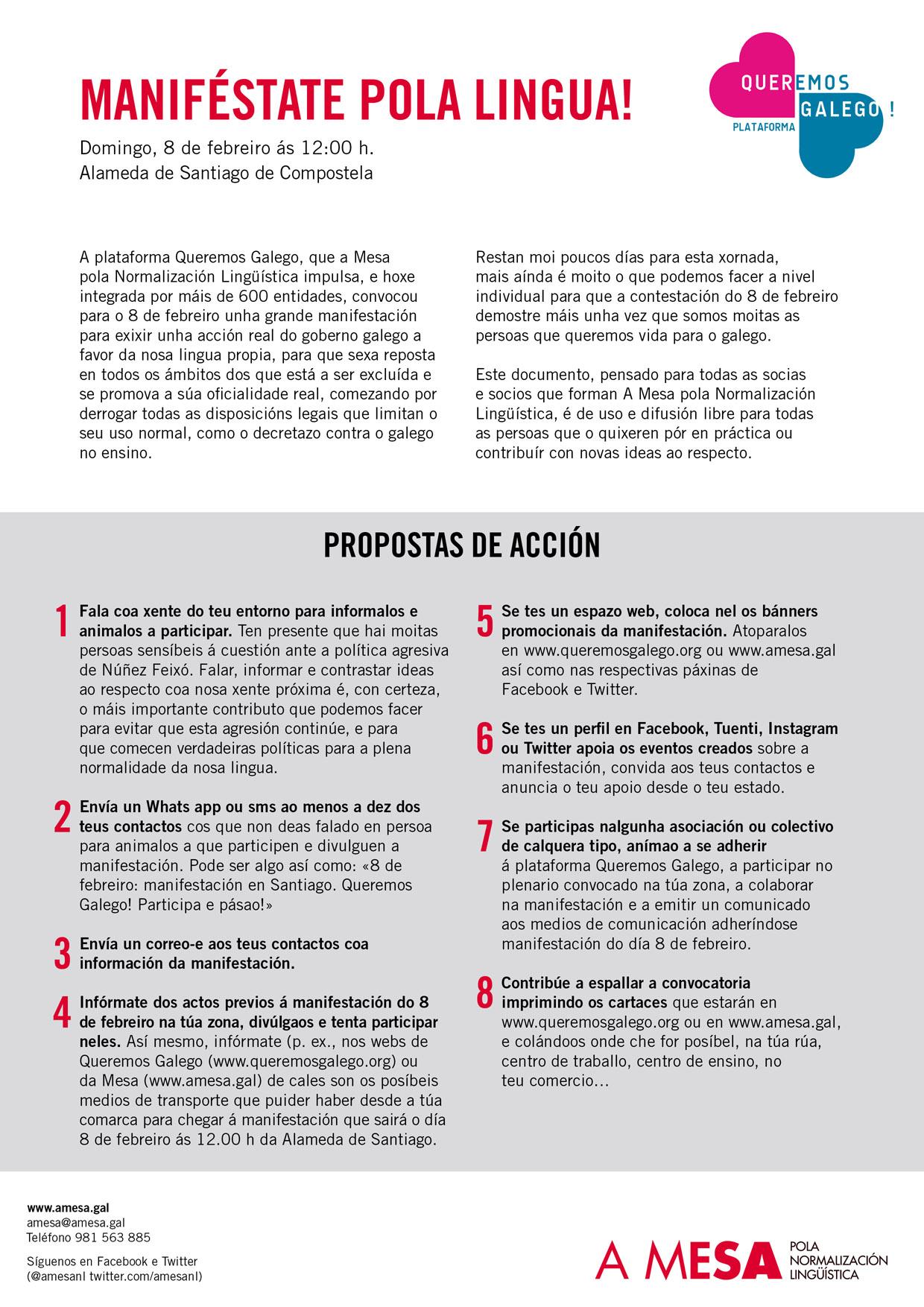 Propostas de acción para a manifestación de Queremos Galego do 8 de febreiro