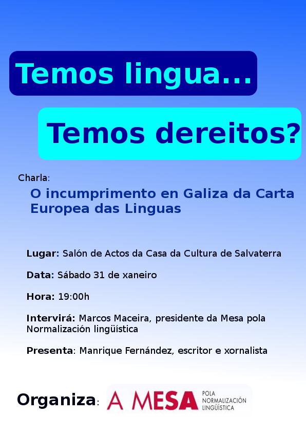 Charla sobre o incumprimento en Galiza da Carta Europea das Linguas