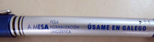 Bolígrafo de cor azul 'A Mesa pola Normalización Lingüística'