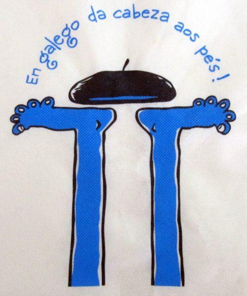 """Bolsa de praia co lema """"En galego, da cabeza aos pés"""""""