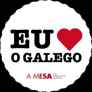 Chapa de diámetro co lema 'Eu quero o galego'